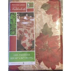 New Christmas poinsettias Printed Linen Tablecloth